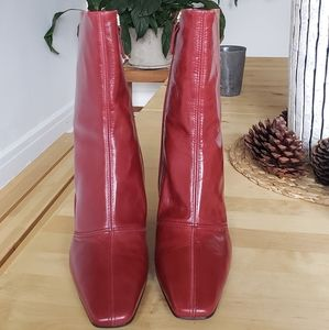 Real red leather boots